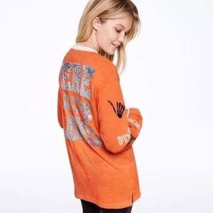 Orange Halloween Bling Lace Up Tee Shirt VS Pink